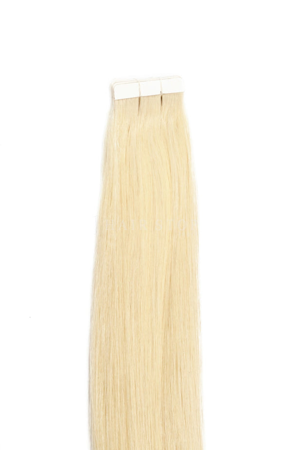 Blonde human hair tape in extensions
