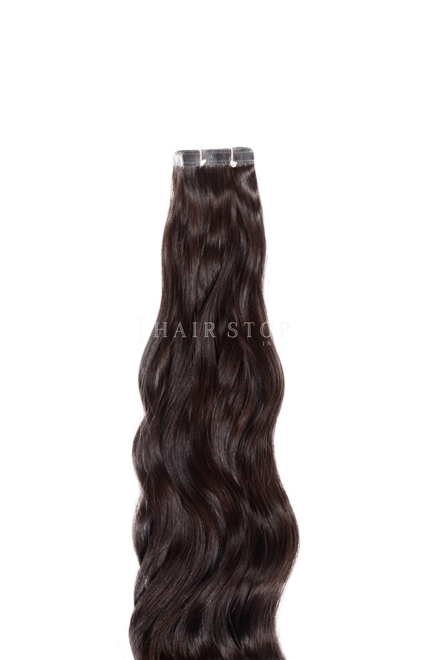 Dark brown tape in extensions