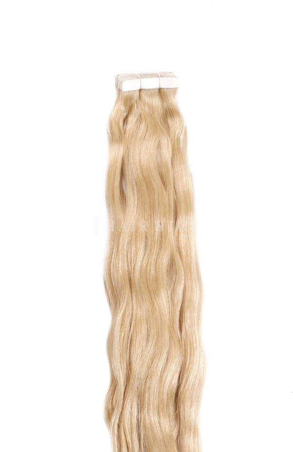 Golden Tape-in Extensions in wavy