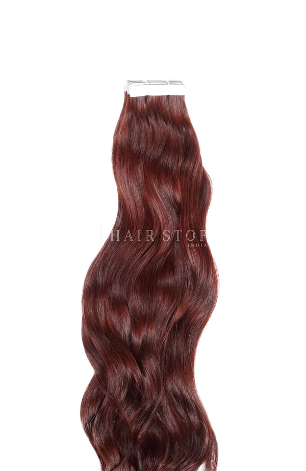 Deep red tape in extensions