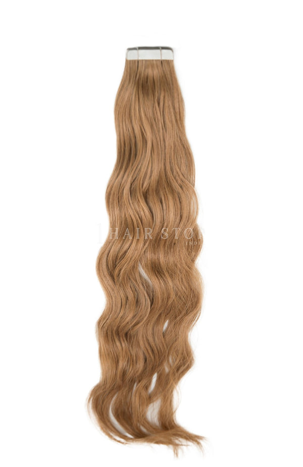 Golden Brown Tape-in Extensions in wavy