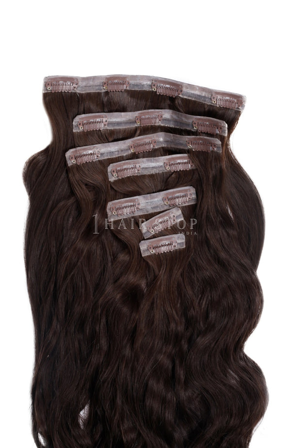 Invisi Clip-In Extensions Wavy Brown #2 Clip-In