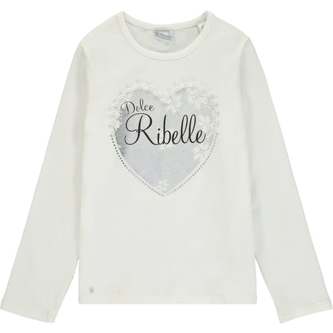 Girls White Cotton Jersey Top