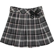 Girl Grey and Silver Check Skirt
