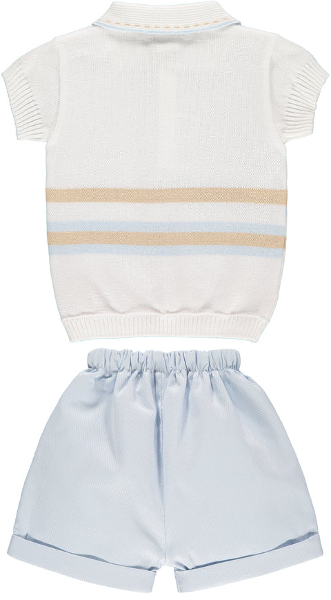 White Top and Sky Blue Shorts Outfit Set