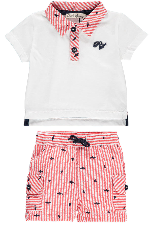 Boys 2 Piece Cotton Top and Shorts Set