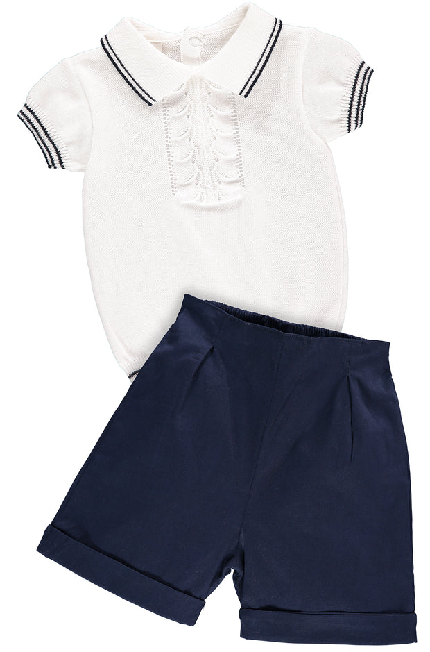 White Top and Navy Blue Shorts Outfit Set