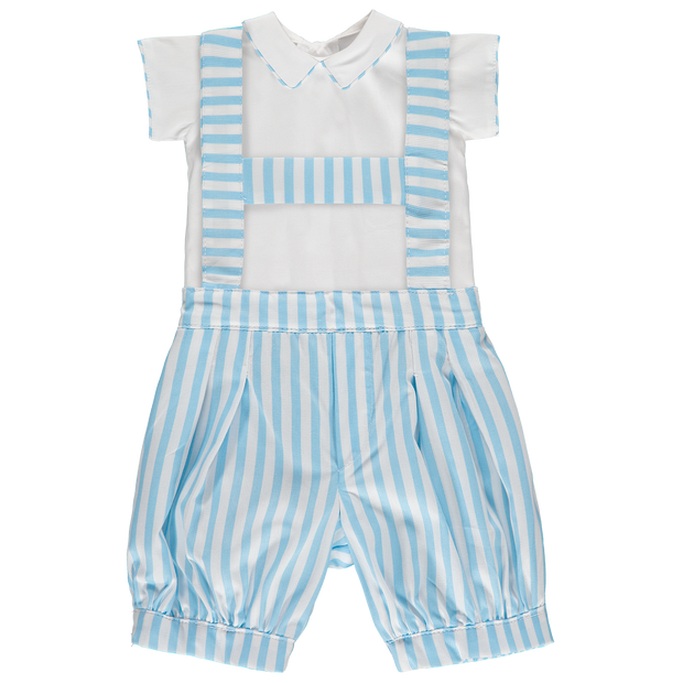 Baby Striped Blue Shirt and Shorts Set