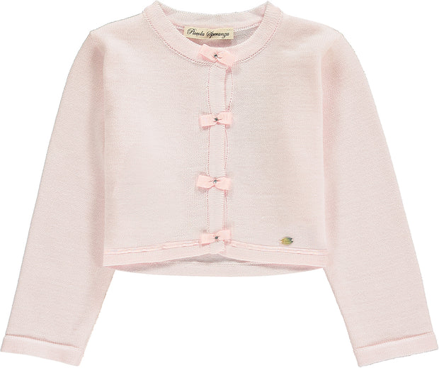 Pale Pink Knitted Cotton Cardigan