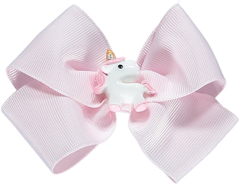 Large Pink Bow Unicorn Hair Clip