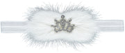White Fur With Sparkly Crown Headband