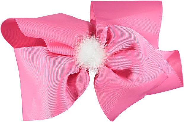 Pink Oversized Bow with White PomPom Headband