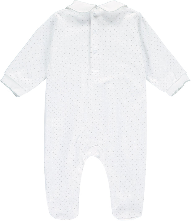 Unisex Three Nursery Bear White and Grey Spotty Babygrow