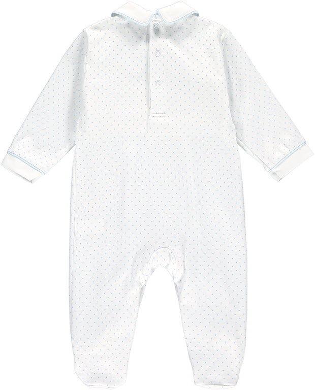Boys Rocking Horse White and Blue Spotty Babygrow