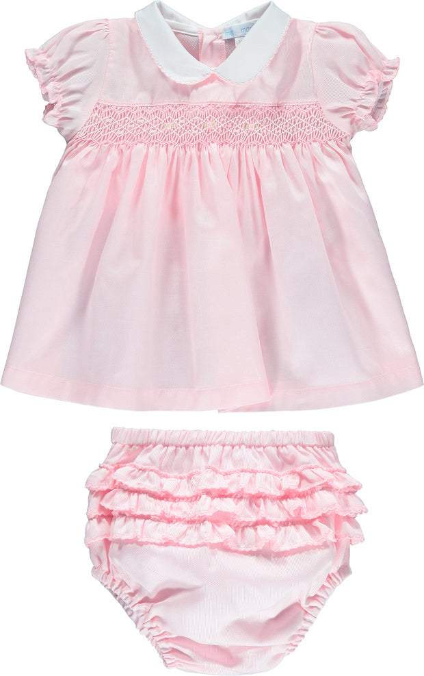 Girls Pink Dress Hand-Embroidered