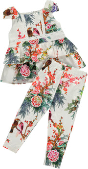 Girls Blouse and Trousers Floral Bird Print Set