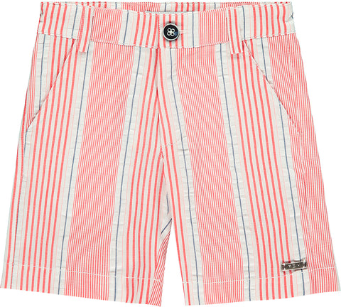 Boys Red Striped Cotton Shorts