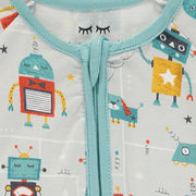 Baby Boys White and Green Robots Sleepsuit