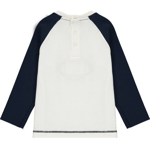 Baby Boys White and Blue Cotton Top