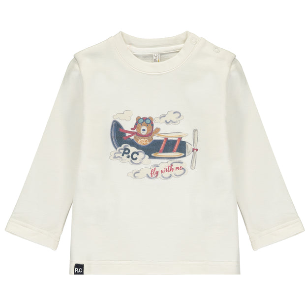 Baby Boys White Cotton Top