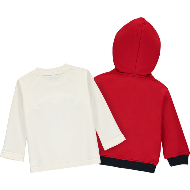 Red Cotton Zip-Up Top