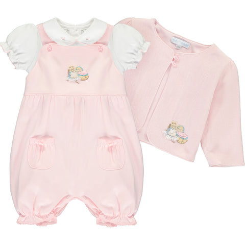 Baby Girls Hunca Munca Pink Dungaree Set