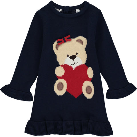 Baby Girl Navy Blue Cotton Jumper