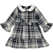 Baby Girls Navy Blue and Grey Check Dress