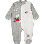 Baby Boy White and Grey Velour Babygrow