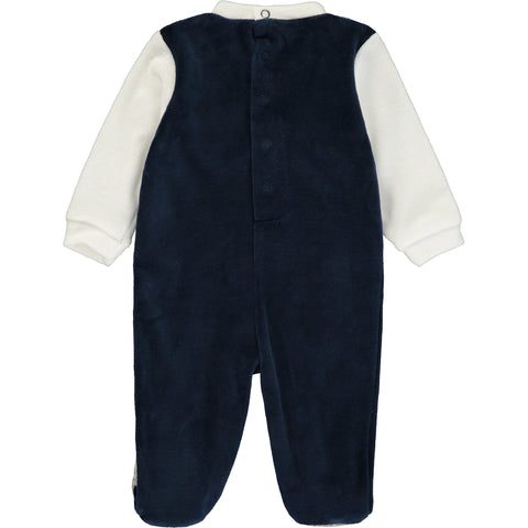 Baby Boy White and Navy Blue Velour Babygrow