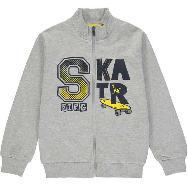 Grey Cotton Zip Up Top