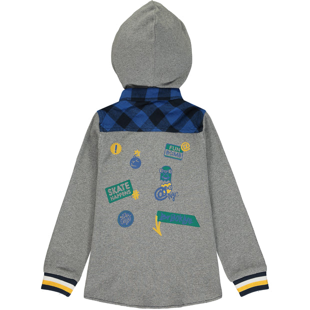 Grey and Blue Check Hooded Shirt