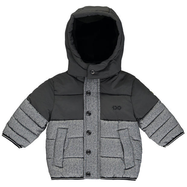 Boys Grey and Navy Blue Puffer Jacket