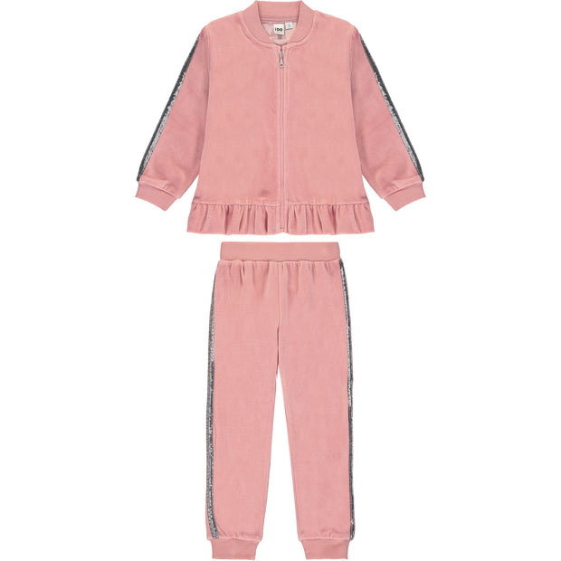 Pink Cotton Velour Tracksuit Set