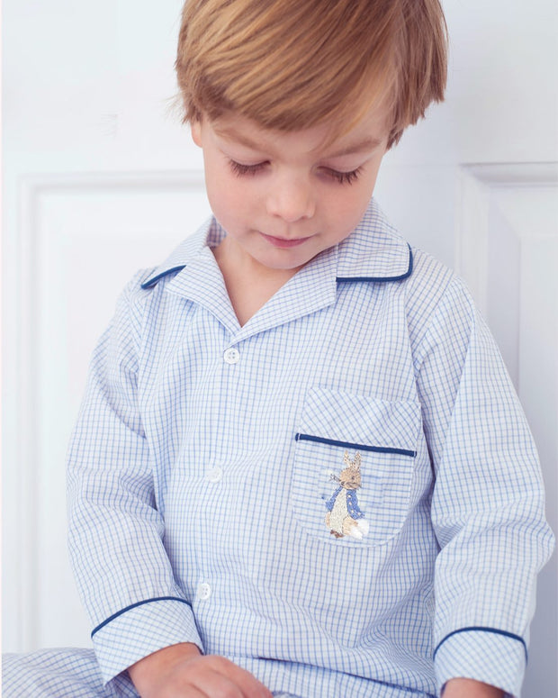 Boys Blue and White Checked Peter Rabbit Pyjamas