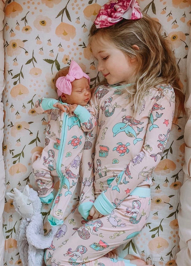 Baby Girls Pink Mermaid Sleepsuit