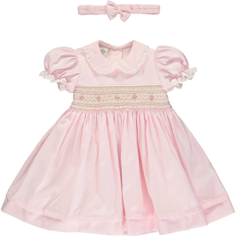 Baby Girl Pink Hand-Smocked Dress Set
