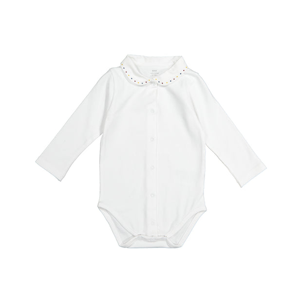 Baby Girl White Cotton Bodysuit