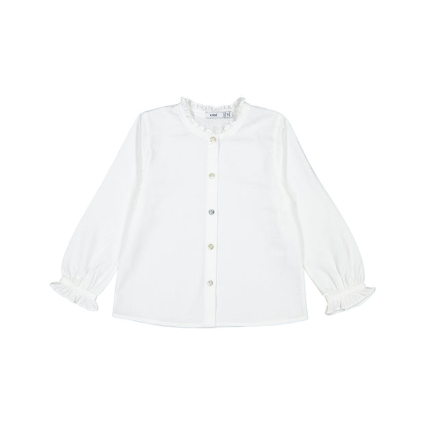 Girls White Cotton Blouse