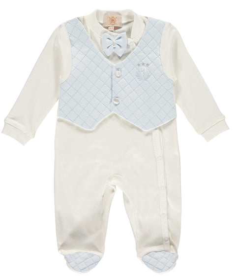 Boys Babygrow All In One Waist Coat Outfit