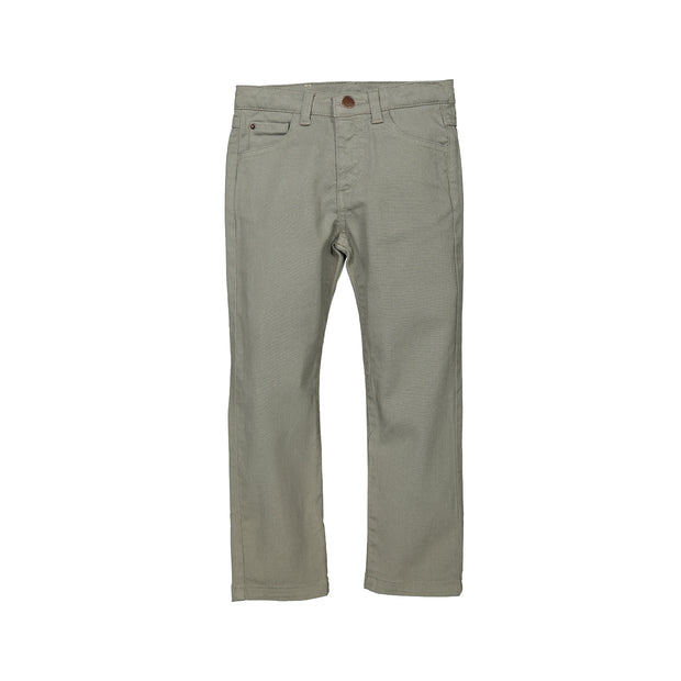 Boys Light Grey Cotton Trousers