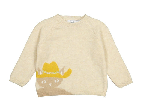 Baby Boys Creamy Knitted Wool Jumper