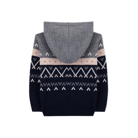 Boys Grey and Navy Blue Hooded Knitted Wool Jumper