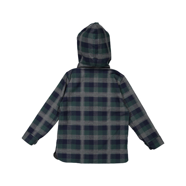 Green and Blue Check Hooded Shirt