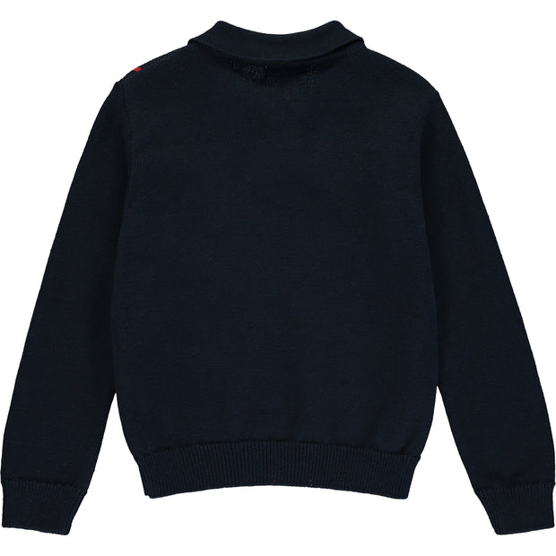 Boys Navy Blue Knitted Jumper