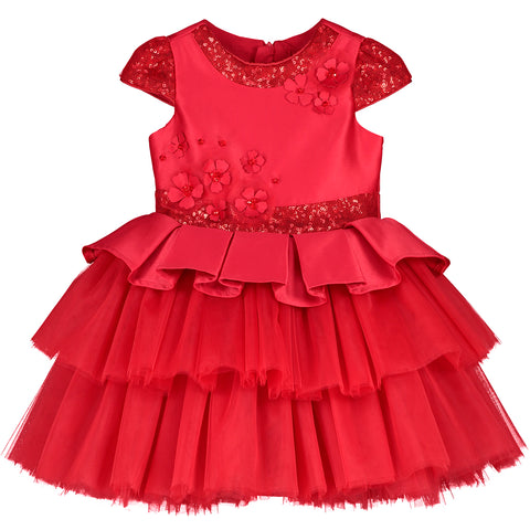 Red Tulle & Sequin Girl Dress