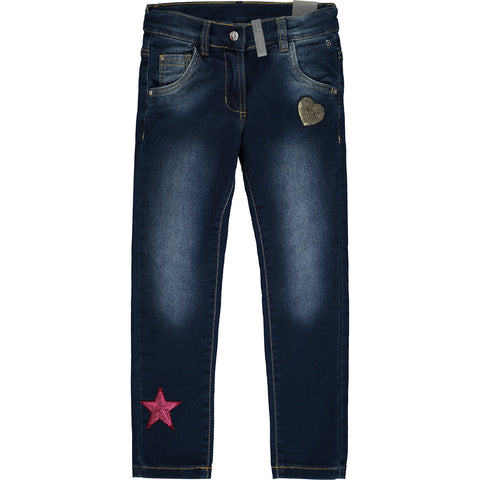 Girls Blue Slim Fit Cotton Jeans