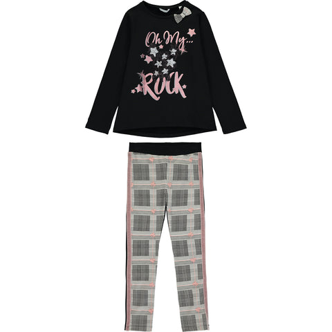 Girls Black and Pink Top and Leggings Set