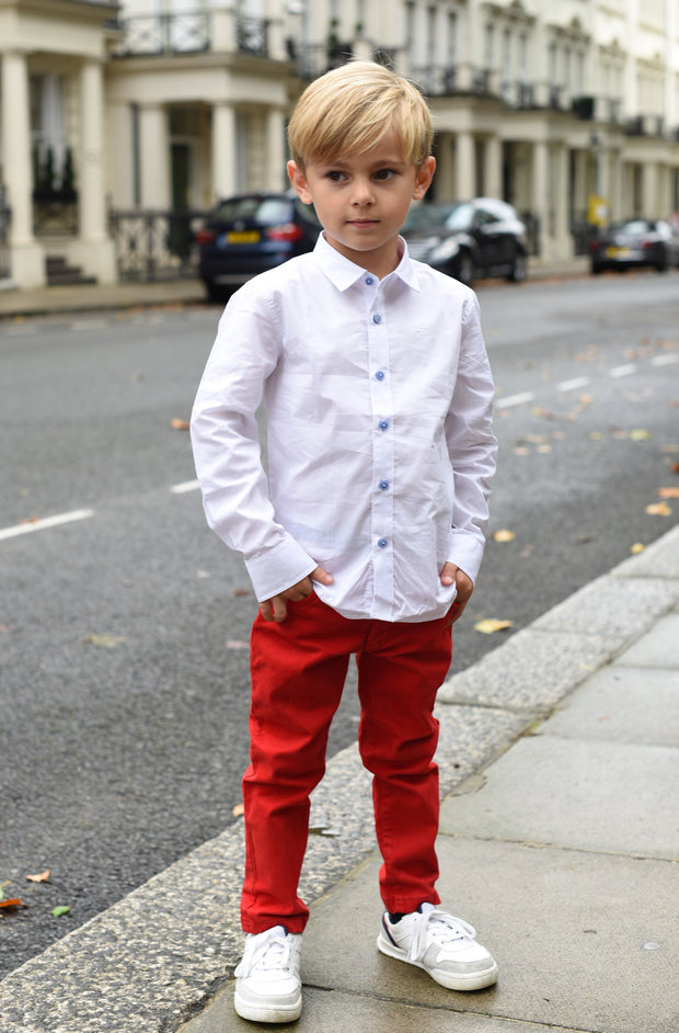 Boys Smart White Cotton Long Sleeved Shirt