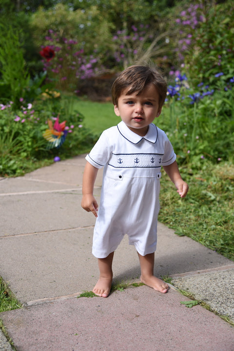Baby Boys White Anchors Romper